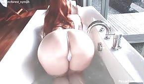 Volpe tettona si masturba mentre fa il bagno